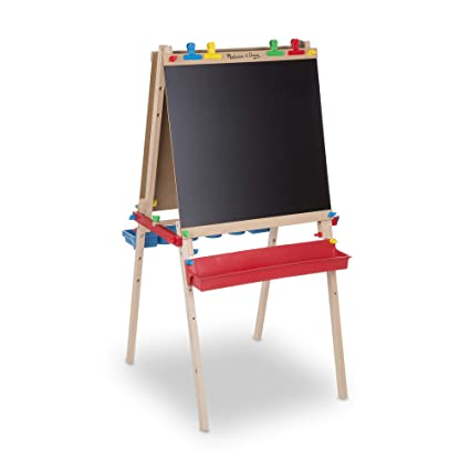 Melissa Doug Deluxe Wooden Standing Art Easel Arts Crafts Multiple Use Easel Chalkboard Dry Erase Board Paper Roll Holder 11938 Cm H