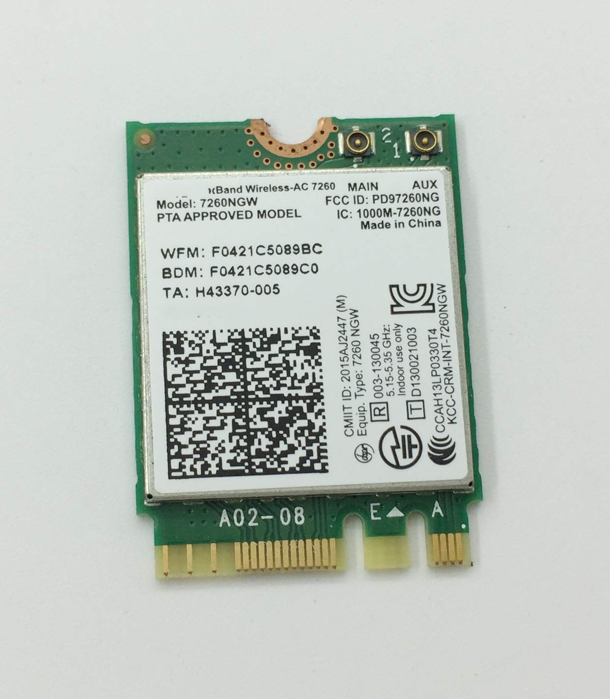 867Mbps Dual Band Wireless-AC 7260NGW WiFi Card for DELL E6520 Inspiron 15 M3800 XPS 12 9Q33 XPS 13-9333 15-9530 0GPFNK GPFNK M7X42
