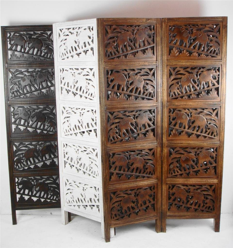 4 Panel Heavy Duty Indian Screen Wooden Elephant Room Divider183x50cm Perpanel202cm Wide Open Amazoncouk Kitchen Home