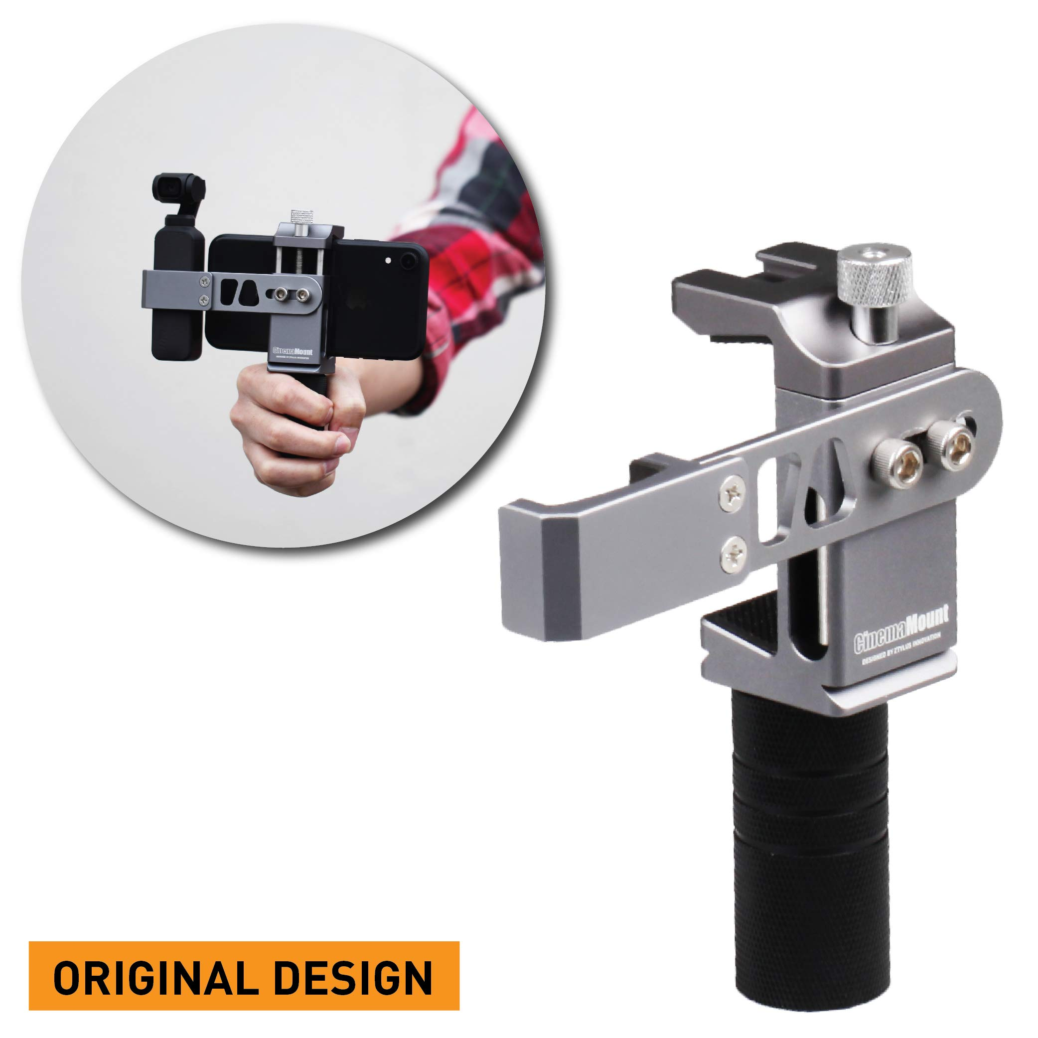 Cinema Mount Rig for DJI Osmo Pocket: Smartphone Rig, Aluminum Alloy Grip Handle, Osmo Pocket Clip, Cell Phone Tripod Adapter, Standard Cold Shoe Mount, 1/4''-20 Tripod Thread, Fit Arca Swiss (Updated)