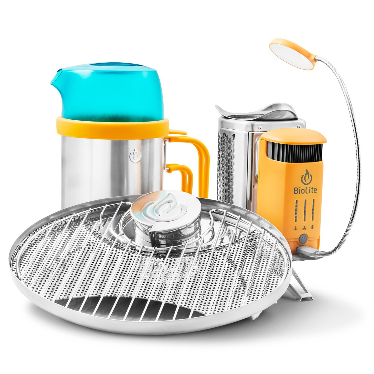BioLite CampStove 2 Bundle- Includes Wood-Burning Small Lightweight CampStove 2, USB FlexLight, 2600 mAh Powerbank, Portable Grill and KettlePot Attachments , Silver/Yellow/Aqua (CSX2001) by BioLite (Image #1)