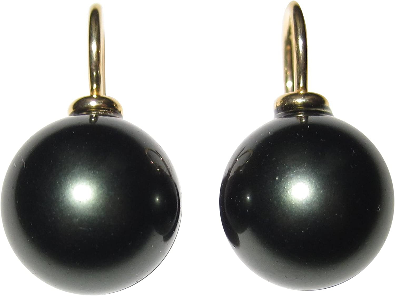 Pendientes colgantes de perlas, perlas de color gris oscuro, 12 mm, redondas, plata de ley chapada en oro 585, trabajo artesanal, clásico