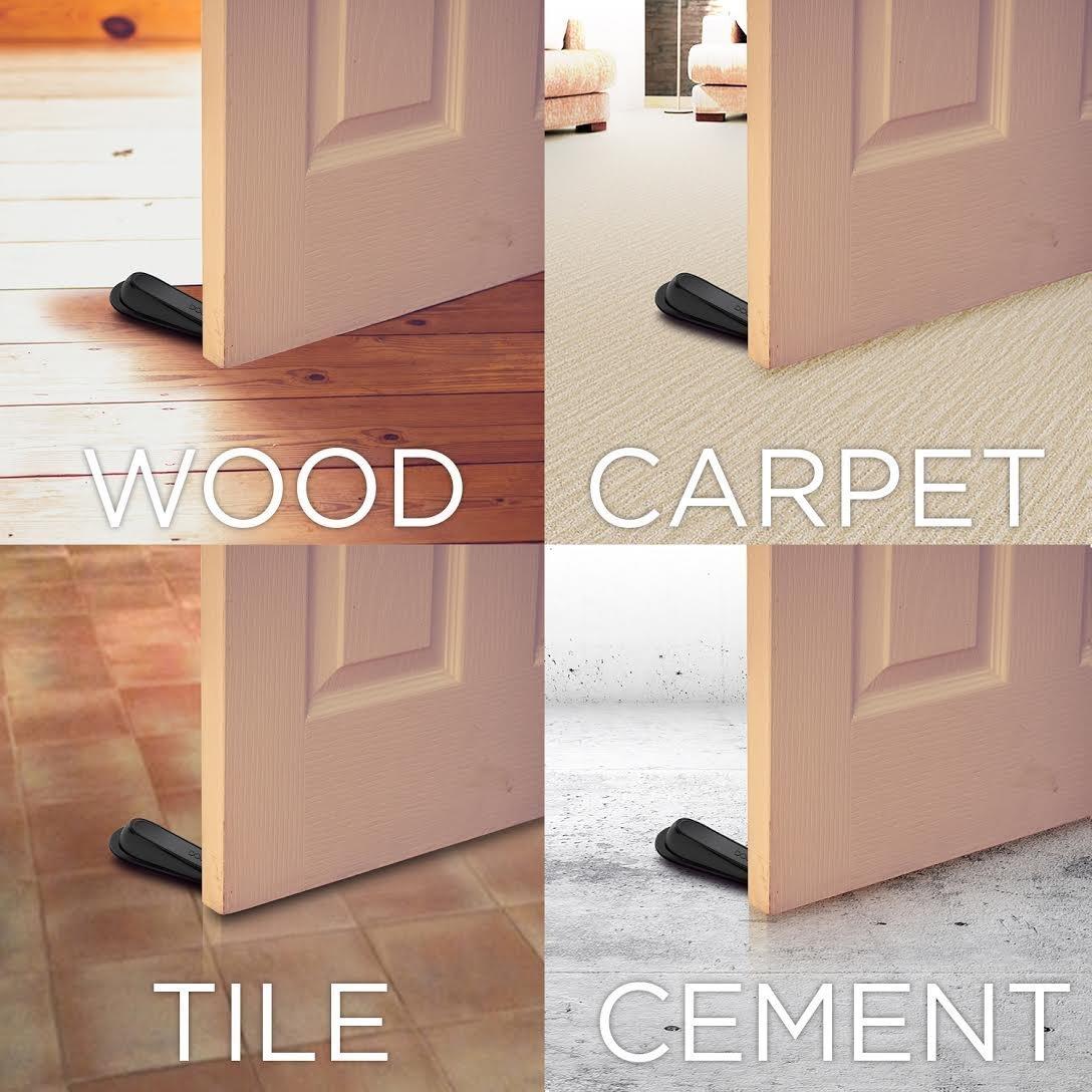 Genial Door Stop Wedge, Invool Rubber Grey Door Stopper With Holders For Tiles,  Carpet, Wood, Gement And Laminate Floors ...
