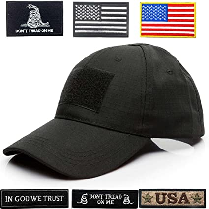 5d59cd1eb3392 Amazon.com  Lightbird Tactical Hat with 6 Tactical Patches ...