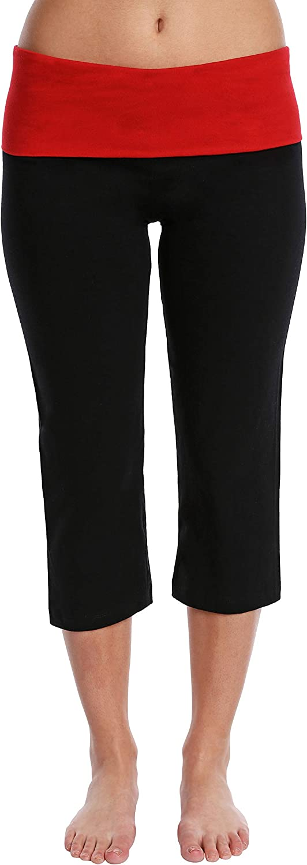 Blis Womens Yoga Workout Legging Capri Pant with Foldover Color Waistband