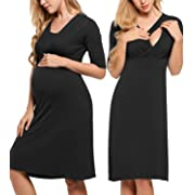 3f6cc0af413 HOTOUCH Women s Knee length Front Pleated Midi Maternity Dress Black S