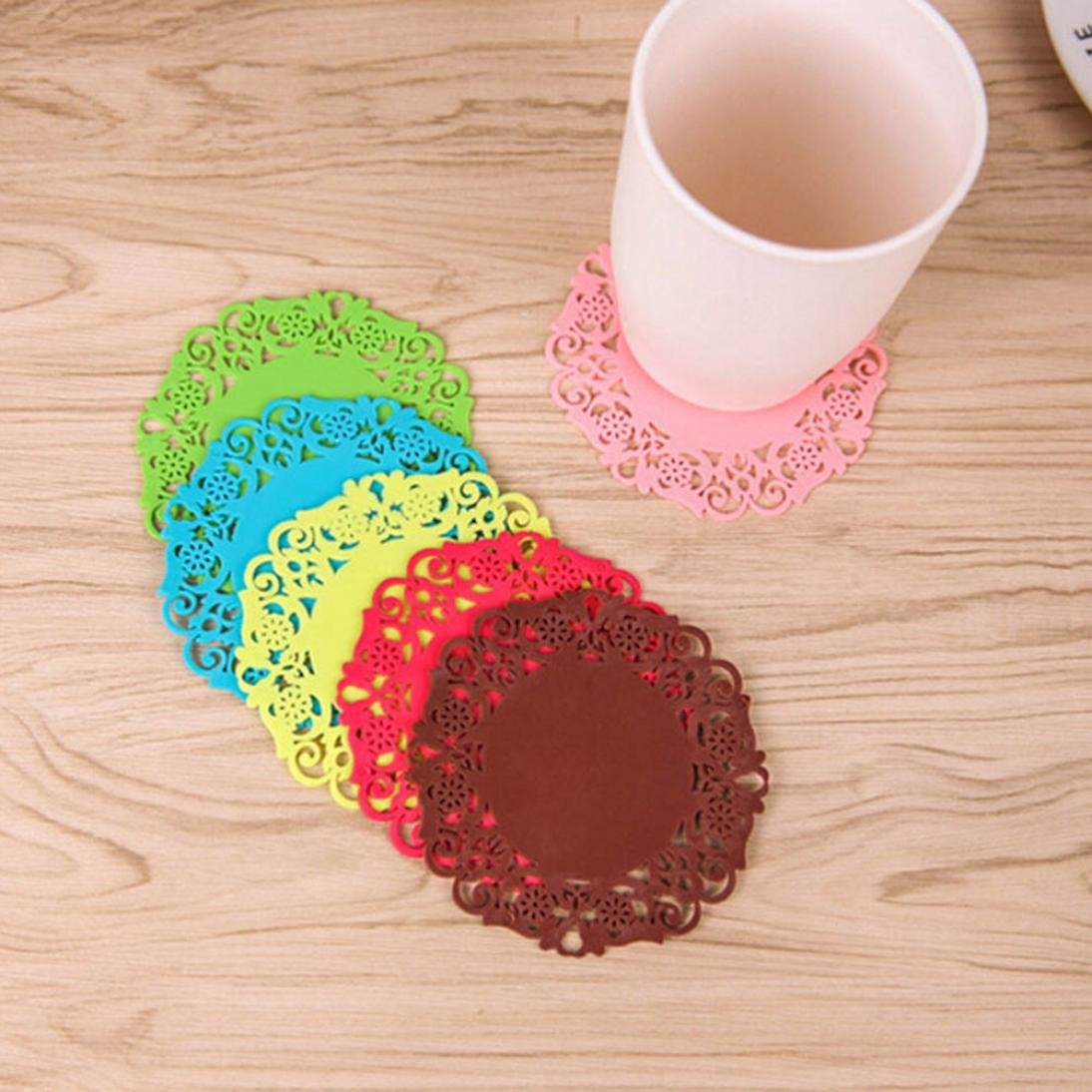 Fheaven Silicone Round Coasters, Flower Doilies Silicone Coaster Tea Cup Holder Coffee Mug Place Mats Pad Insulation Lacework Placemat Lau (A) by Fheaven (Image #1)