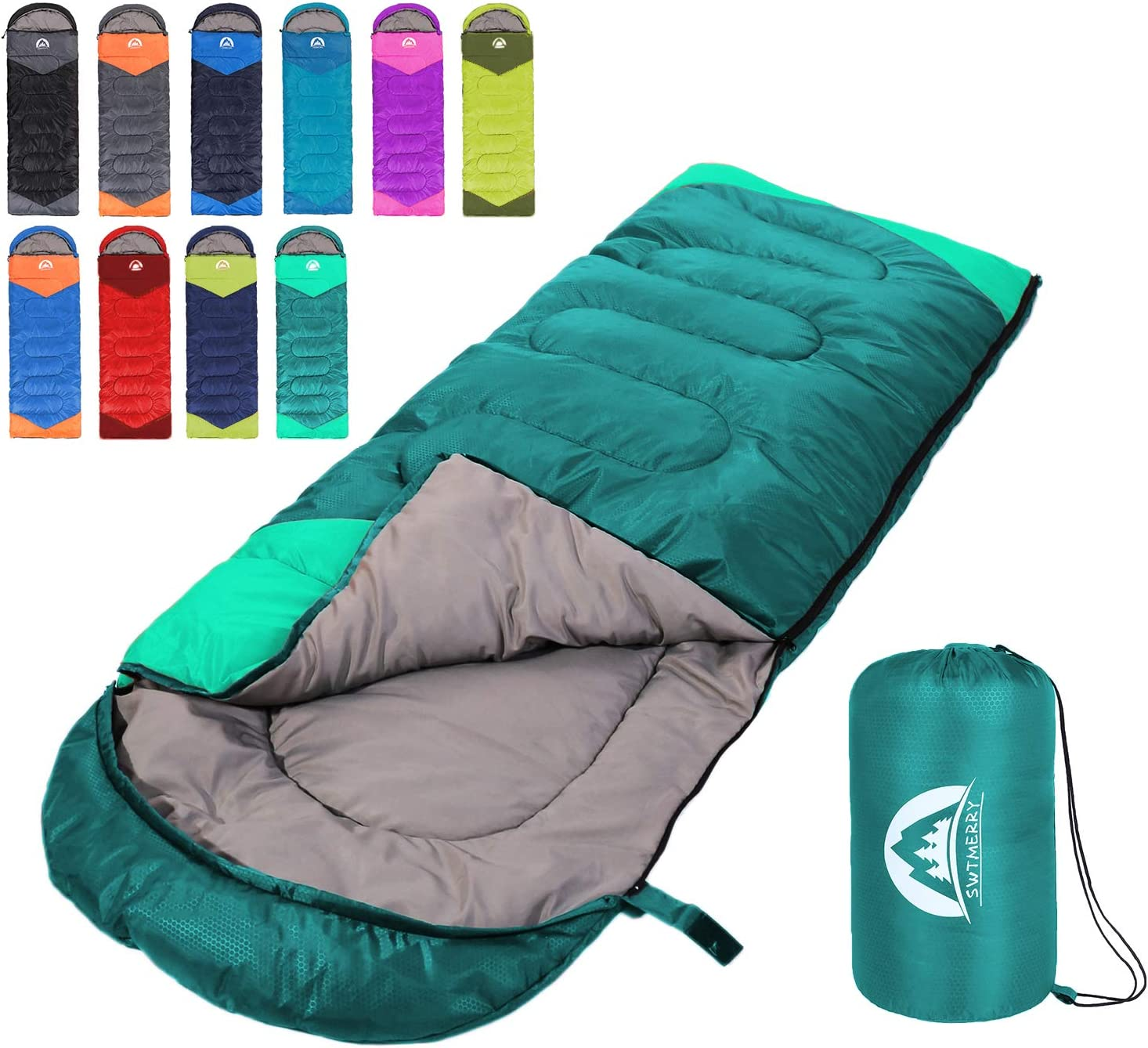 Sleeping Bag 3 Seasons (Summer, Spring, Fall) Warm & Cool Weather - Lightweight,Waterproof Indoor & Outdoor Use for Kids, Teens & Adults for Hiking and Camping