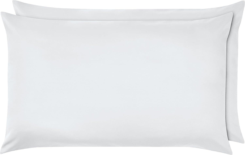 AmazonBasics - Funda de almohada de microfibra, 2 unidades, 50 x 80 cm - Blanco