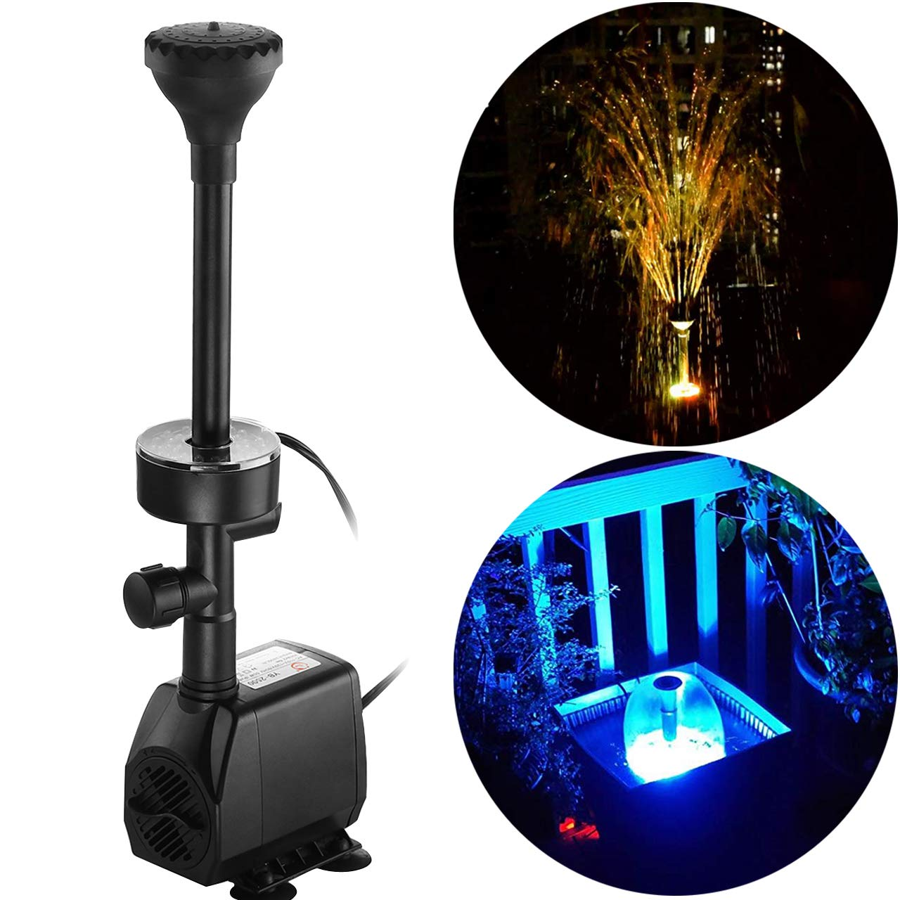 YADICO 730GPH (2800L/H, 110V/55W) Submersible Pump Fountain with RGB Color Changing Ring Lighting Water Fountain Spray Nozzles Kit Multiple Decoration for Garden Pond Indoor and Outdoor Landscape by COODIA