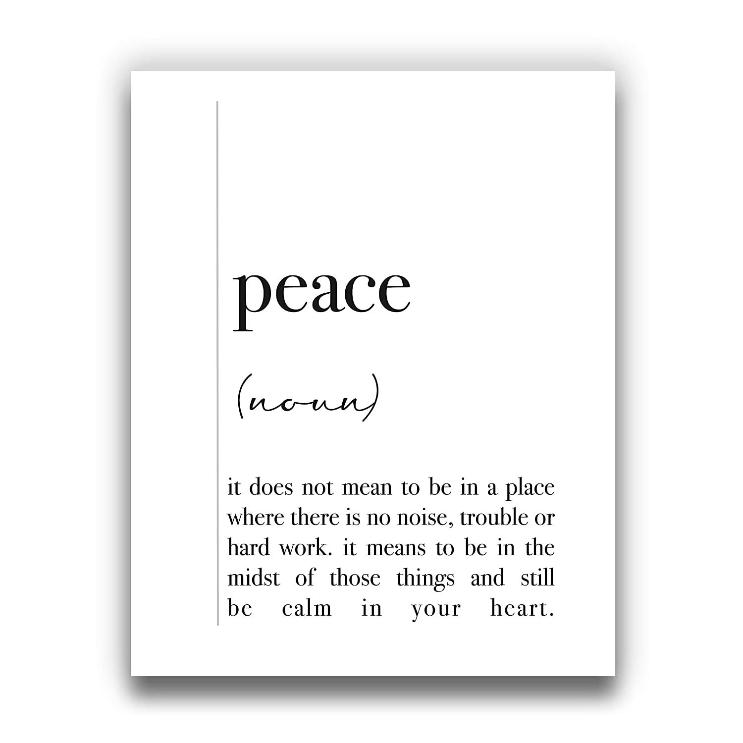 Peace Definition Wall Art | Black and White Positive Word Wall Decor - 8x10 UNFRAMED Modern, Minimalist, Typography Art Print