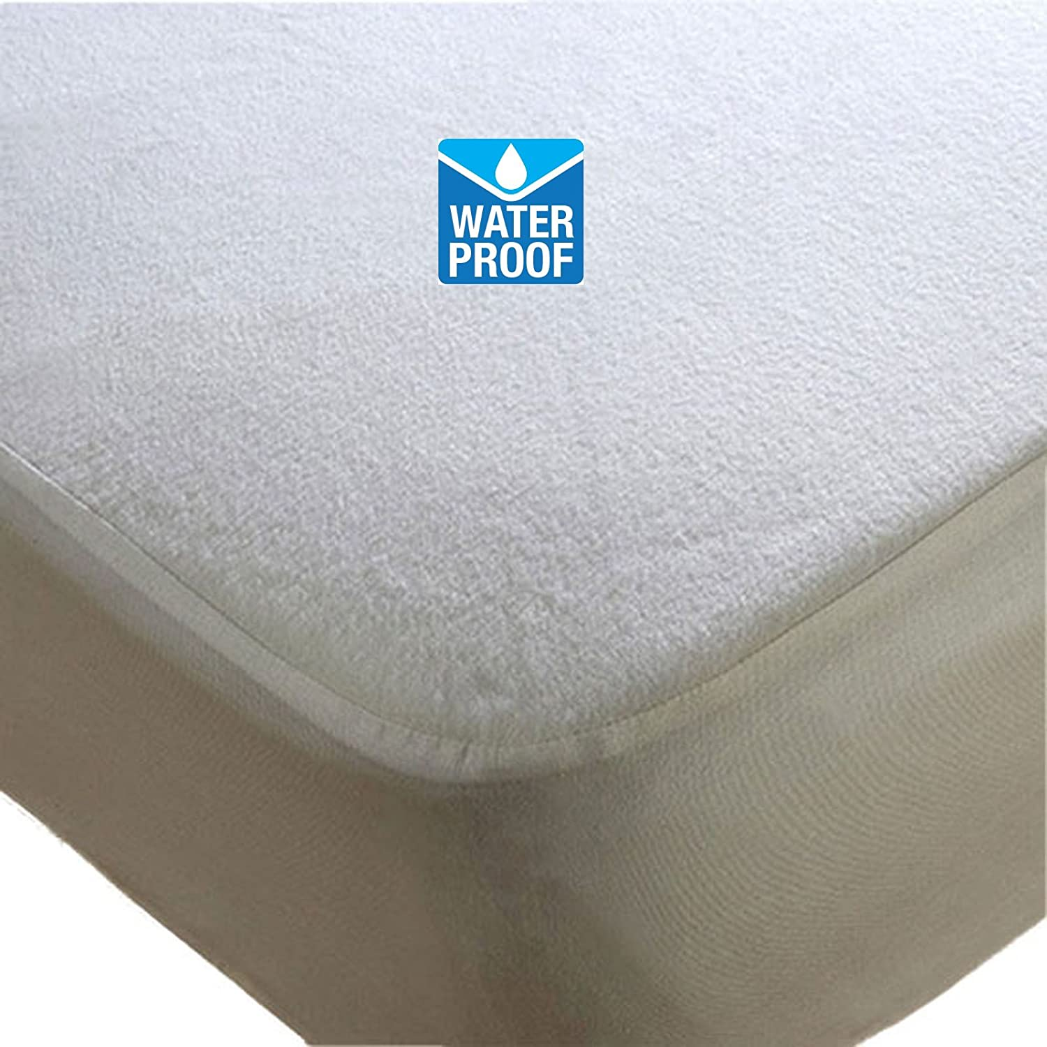 WATERPROOF TERRY TOWEL MATTRESS PROTECTOR FITTED SHEET BED COVER (PILLOW PROTECTOR PAIR) NIGHTS