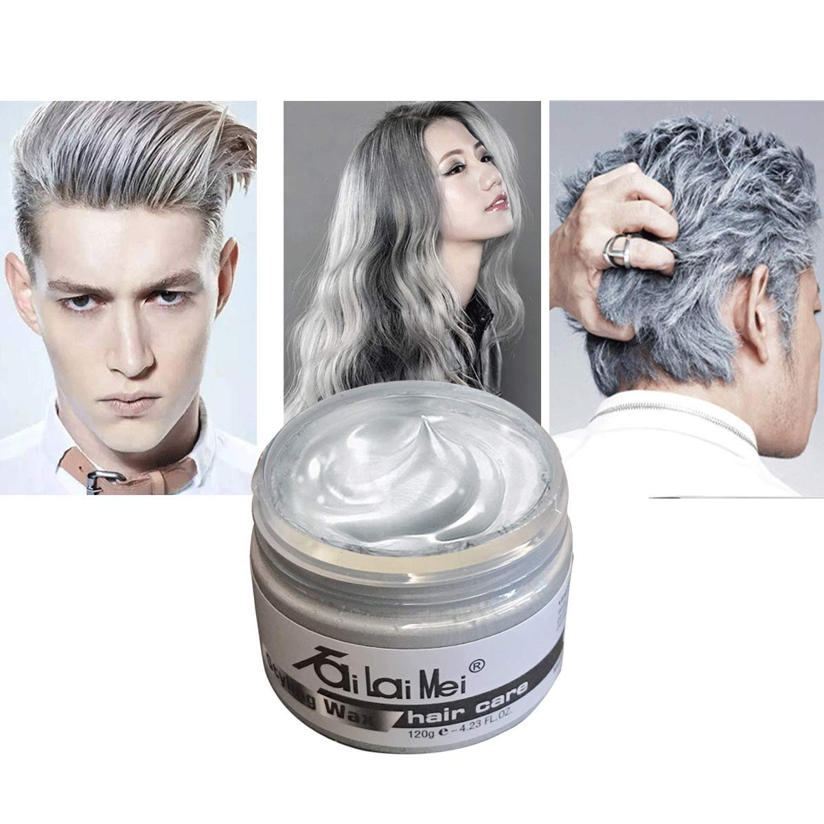 Tailaimei Temporary Silver Gray Hair Wax 4 23oz Instant Hairstyle Mud Cream Hair Pomades For Party Cosplay Nightclub Masquerade Halloween Buy Online In Cayman Islands At Cayman Desertcart Com Productid 92153382