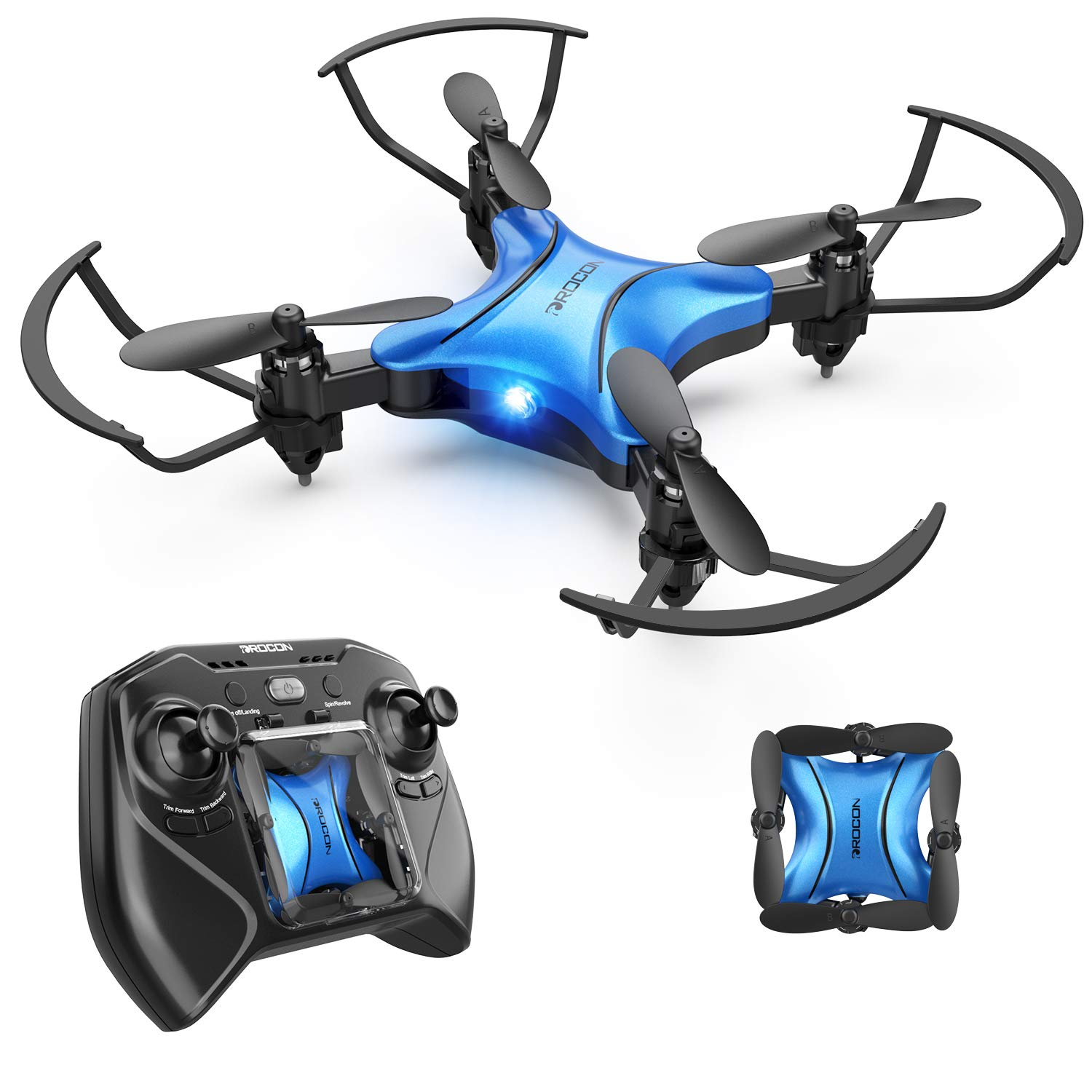 DROCON DC-65 Foldable Mini Drone for Kids, Beginner RC Quadcopter with Altitude Hold/3D Flips/Self-Rotating/Headless Mode/One-Key Take-Off & Landing/One-Key Return/Speed Adjustment (Blue) by DROCON