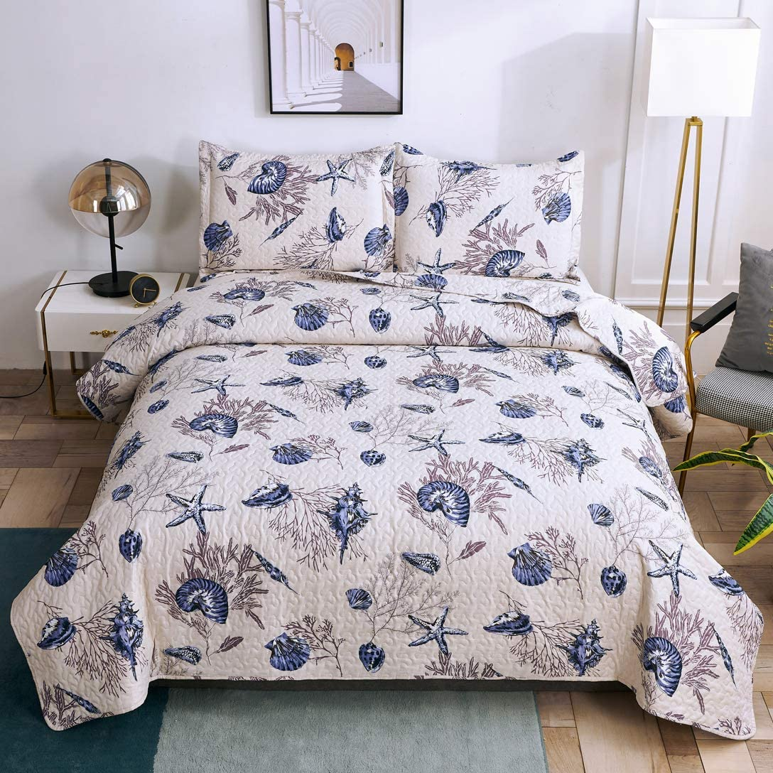 Beach Bedspreads Set Full/Queen Size Lightweight Coastal Quilts,3Pcs Seashell Conch Starfish Seaweed Bedding Reversible Coverlet Sets Pillow Shams