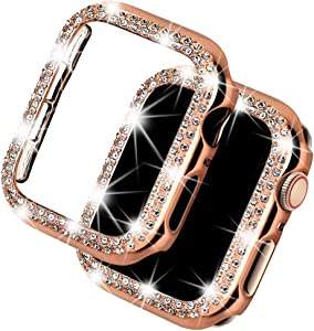 Deeplus Bling Case Compatible Apple Watch Case 38mm, iWatch Series 5 4 3 2 1, Sparkling Crystal Diamond Case Cover Rhinestone Protective Frame Screen Protector (Rose Gold, 40mm)