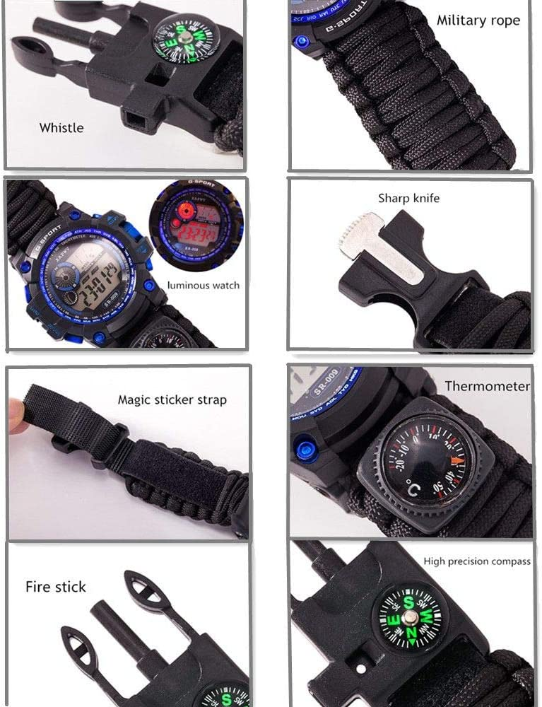Waterproof Tactical Watch 7 in 1 Multifunctional Outdoor Gear for Hike Camp Hunt Emergency Survival Luminous Bracelet//Military Rope//Whistle//Fire Starter//Scraper//Compass Thermometer Black