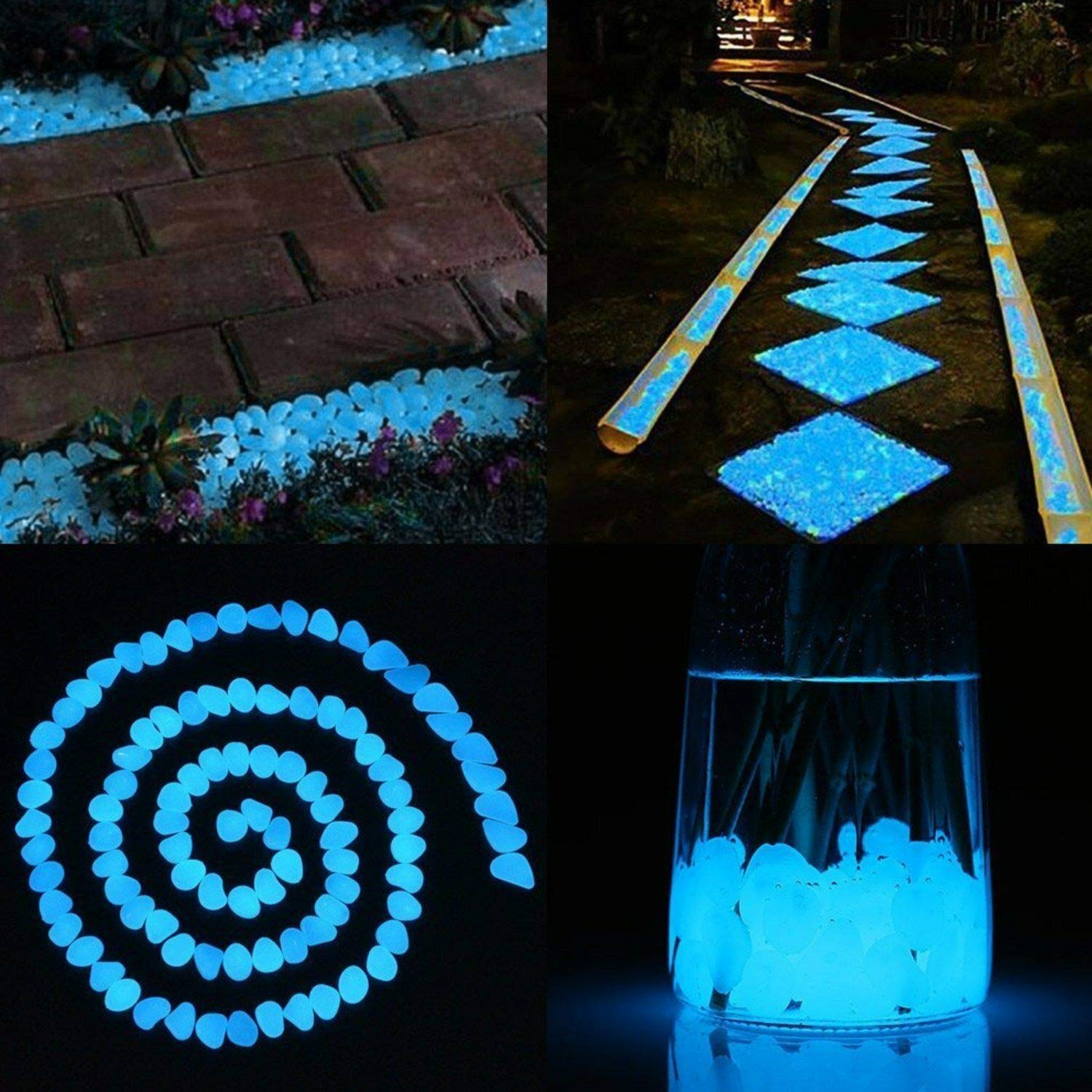 White Garden Pebbles Rocks for Outdoor Yard Grass Window and Fish Tank Decoration ASIBT 500 Pcs Glow in The Dark Stones Walkway