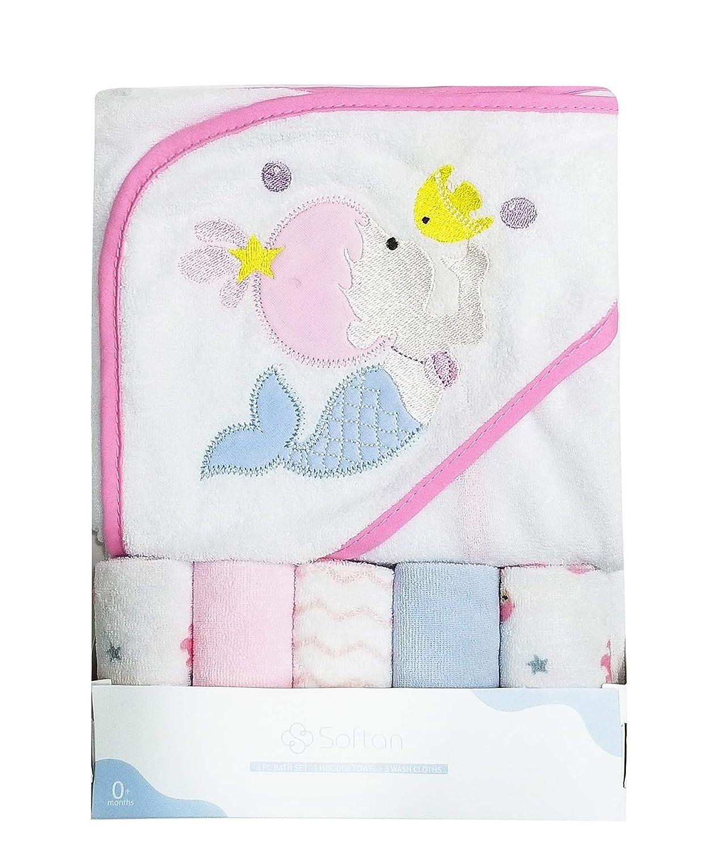 Baby Hooded Towel & 5 Washcloths Set,Super Cozy Animal Embroidery Pattern Infants Bath Towel, 5+1 Gift Pack softan