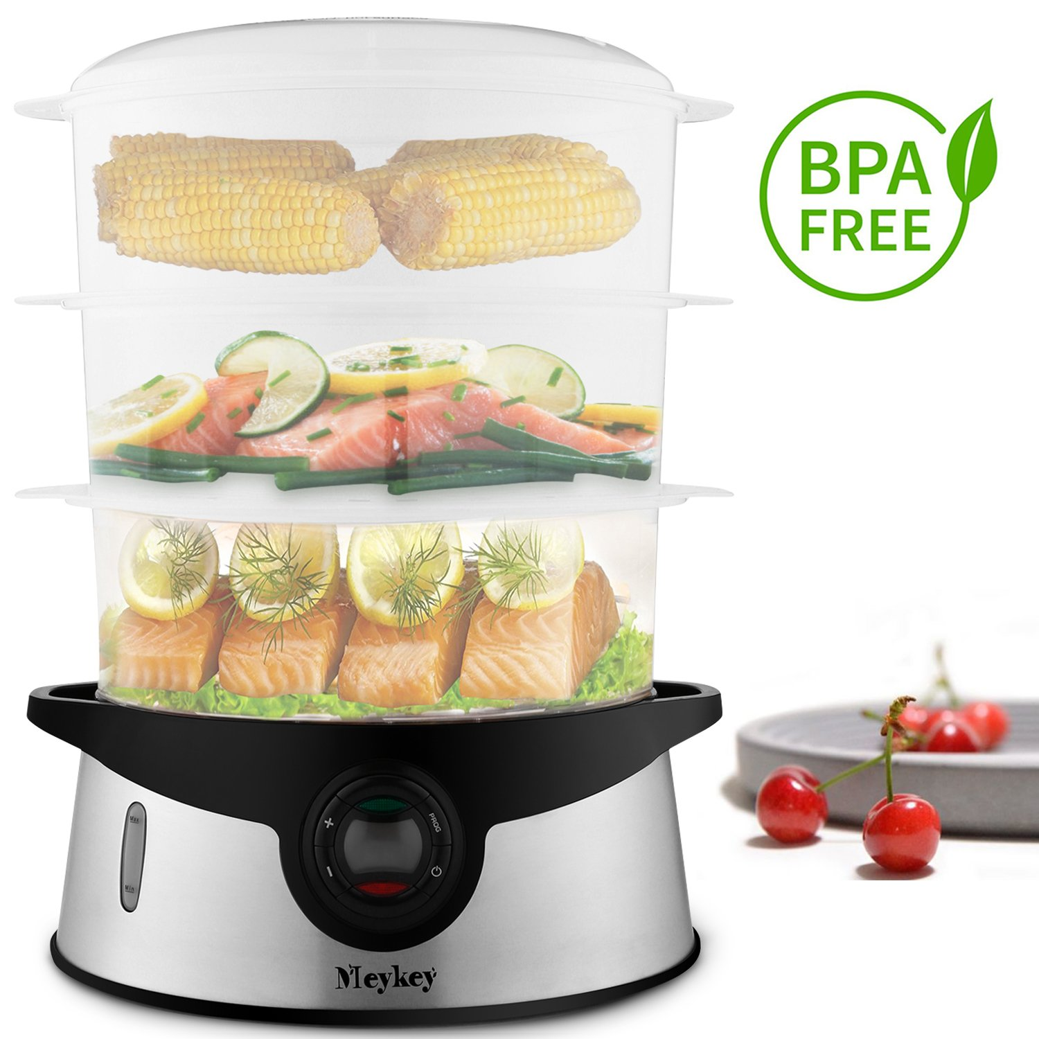 9.5 Quart Food Steamer BPA Free, Rendio 3 Tier Stackable Baskets Vegetable Steamer with Rice and Grains Tray, Electric Steamer 800W Fast Heat up (L)
