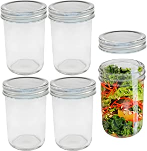 8 Oz Glass Regular Mouth Mason Jars with Metal Airtight Lids Ideal for Meal Prep, Food Storage, Canning, Drinking, Overnight Oats, Spices and More,Set of 5