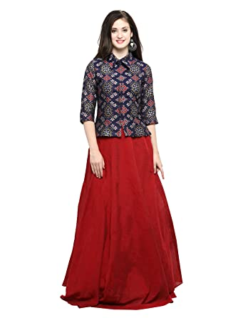 special price for skate shoes classcic Inddus Women's Blue Banarasi Cotton Woven Top with Red Chanderi Cotton  Solid Flared Skirt (IND-IFW-97, Multicolour, Free Size)