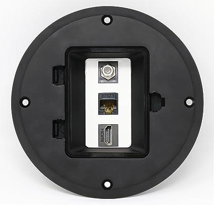 RiteAV HDMI Cat6 Ethernet Coax Cable TV Floor Box - Black