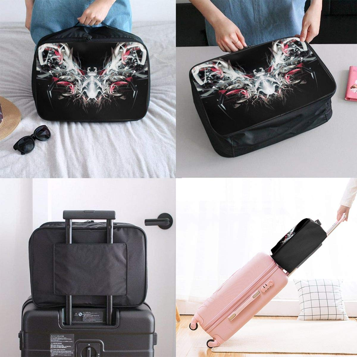Travel Luggage Duffle Bag Lightweight Portable Handbag Abstract Cool Design Pattern Large Capacity Waterproof Foldable Storage Tote