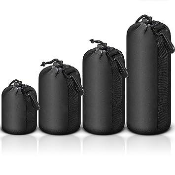 Mekingstudio Bolsa de Objetivo Lente DSLR Cámara de Neopreno 4 Tamaños Protector Negro Suave Lens Pouch Bag para Sony Canon Nikon Olympus Pentax ...