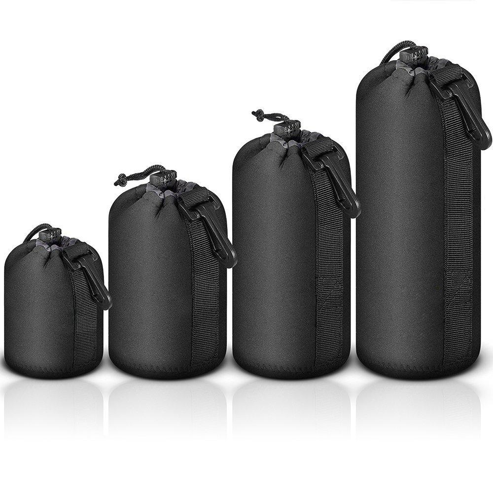 (4 Pack) Nicama Thick Protective Neoprene Pouch Bag Set for DSLR Camera Lens Canon, Nikon, Pentax, Sony, Olympus, Panasonic, Sigma by Nicama