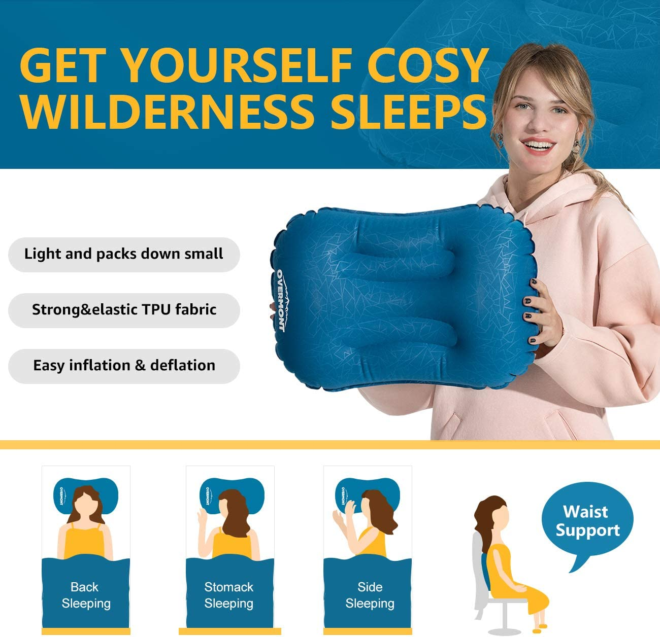 Compact Hiking Backpacking Comfortable Overmont Ultralight Inflatable Camping Travel Air Pillow Compressible Ergonomic Pillow for Neck /& Lumber Support While Camp