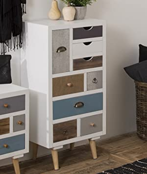 side cabinets for living room. This Retro Vintage Bedroom Sideboard Furniture Is a Small Wooden White  Multi Coloured Tall Chest Of