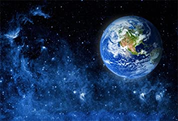 Zhy Galaxy Background 7x5ft Blue Earth Outer Space Universe Backdrop for Photography Vinyl Cosmic Theme Party Backdrop Facebook Studio Photo Booth Props TVV024