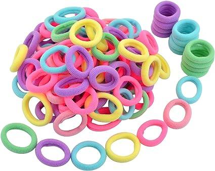 100x Mini Bobbles Hairband Elastic Hair Bands Kids Baby Ponytail Holder Stretchy