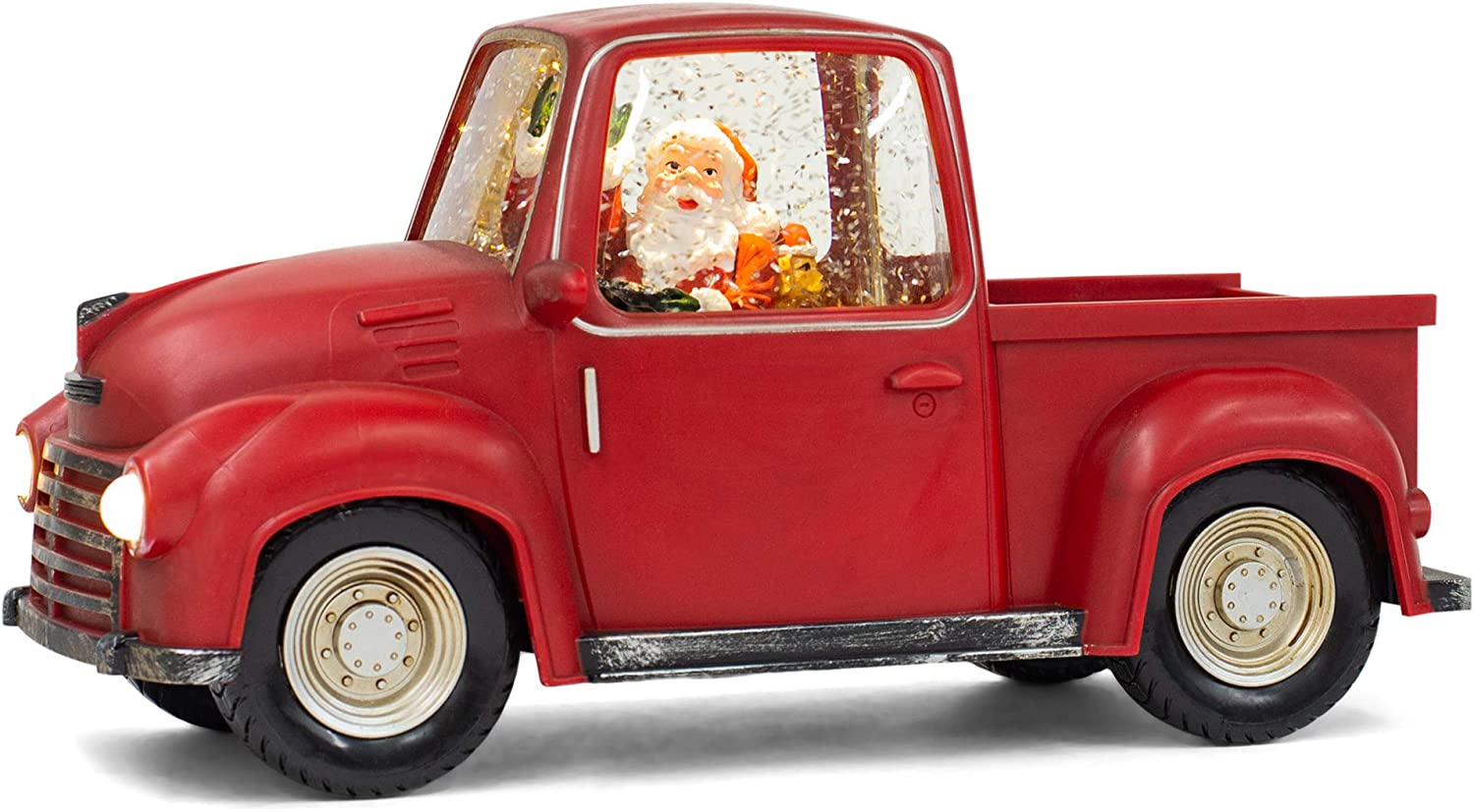 Red Santa Vintage Truck LED 6 x 3 Acrylic Decorative Tabletop Figurine