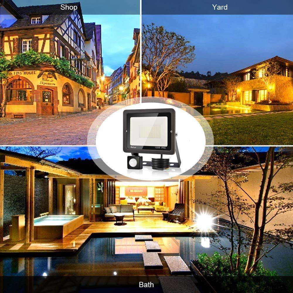 Almac/én Garaje F/ábrica Alto Brillo Iluminacion Exterior para Jard/ín 10W Foco LED Exterior con Sensor Movimiento bapro Proyector LED Exterior 1000LM Floodlight Impermeable IP65 Blanco C/álido 3000K