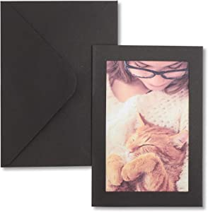 Sustainable Greetings Photo Insert Cards Frames with Envelopes (Black, 4 x 6 in)