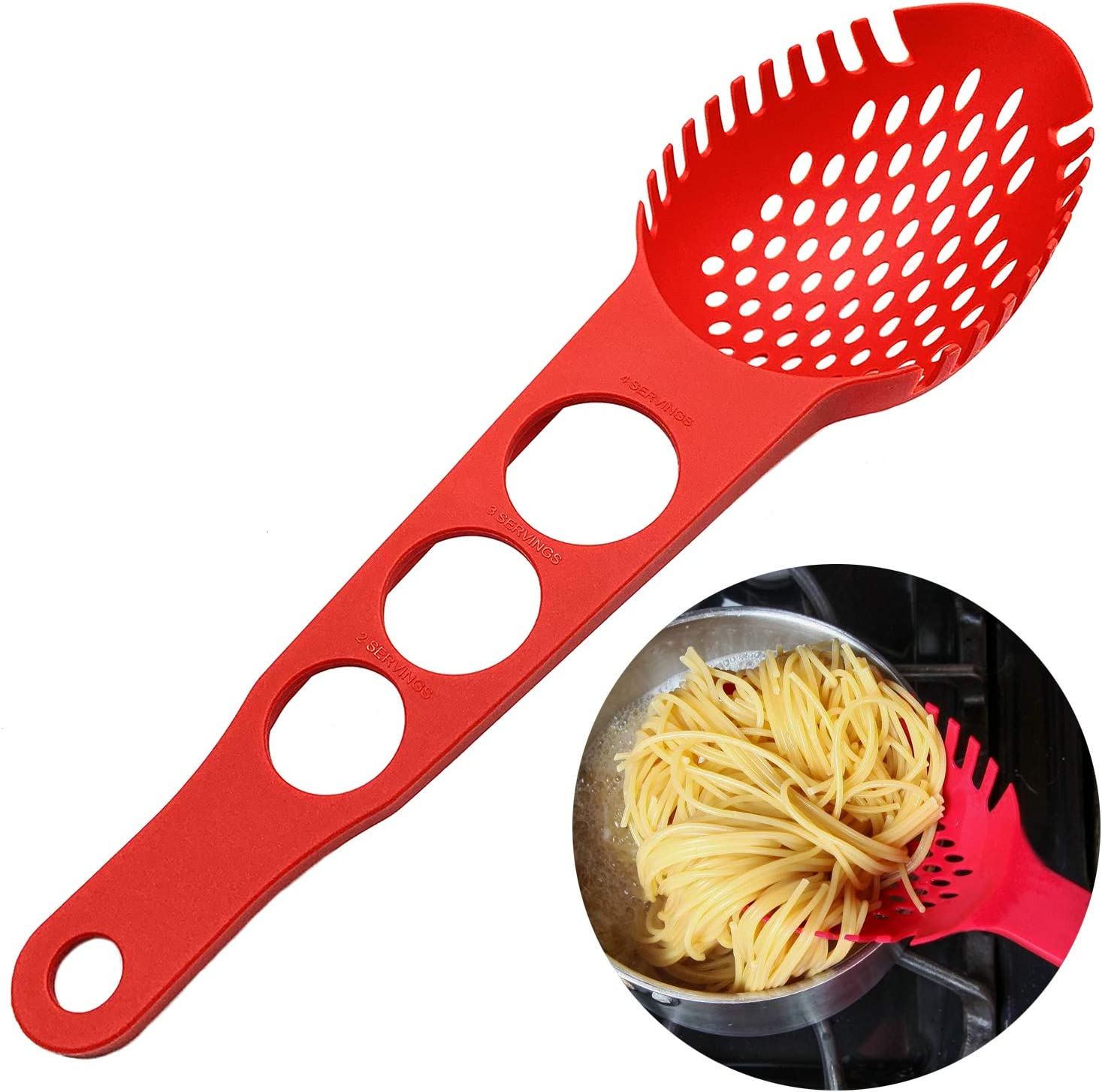 Nylon Spaghetti Server Non-Stick Pasta Fork Slotted Spoon Food Strainer with Spaghetti Measure Tool Strainer Ladle for Kitchen Dishwasher, Large Size