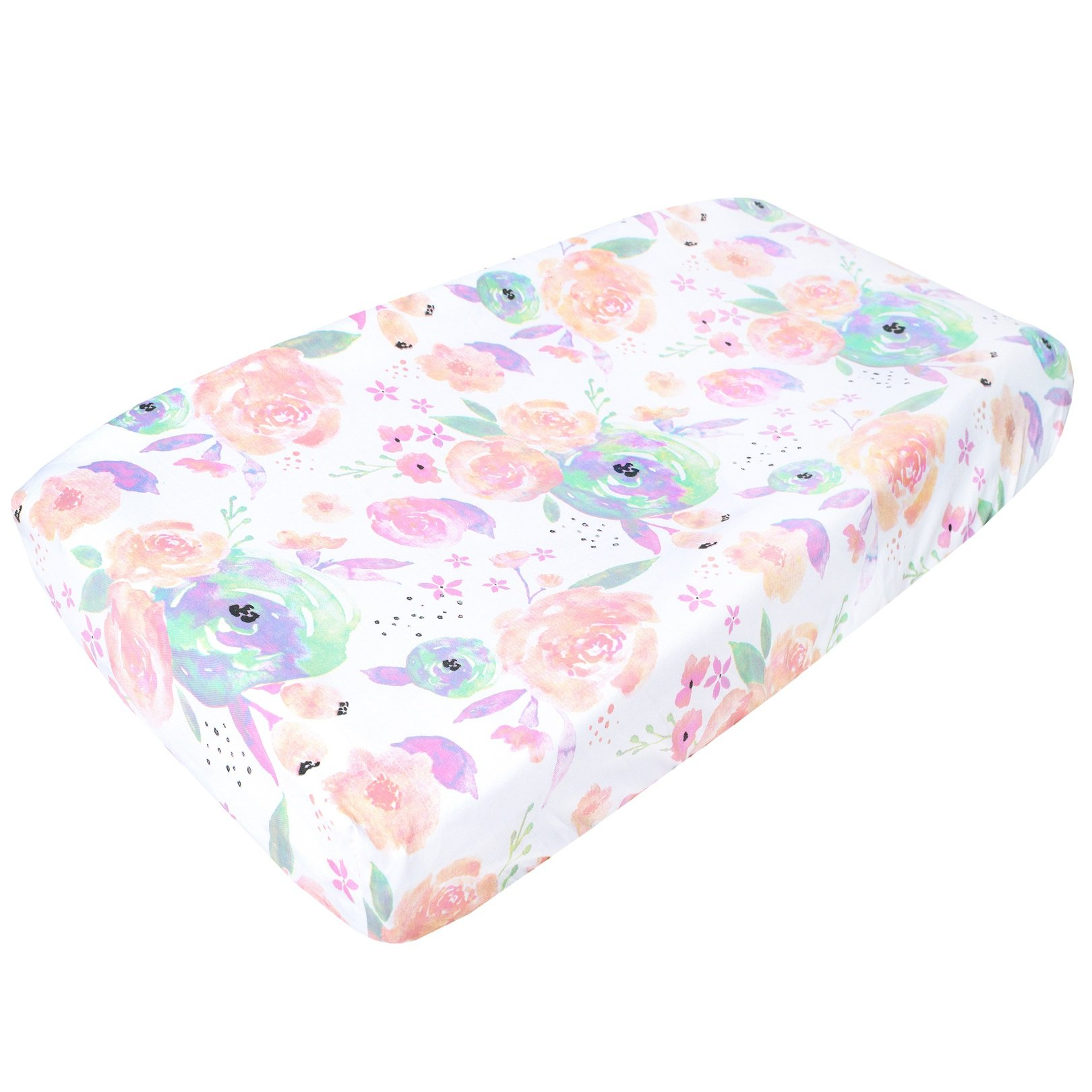 Premium Cotton Diaper Changing Pad Cover ''Bloom Floral'' by Copper Pearl