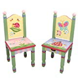 Fantasy Fields - Magic Garden Thematic Hand Crafted Kids Wooden Table & 2 Chairs Set Imagination Inspiring Hand Crafted & Hand Painted Details Non-Toxic, Lead Free Water-Based Paint