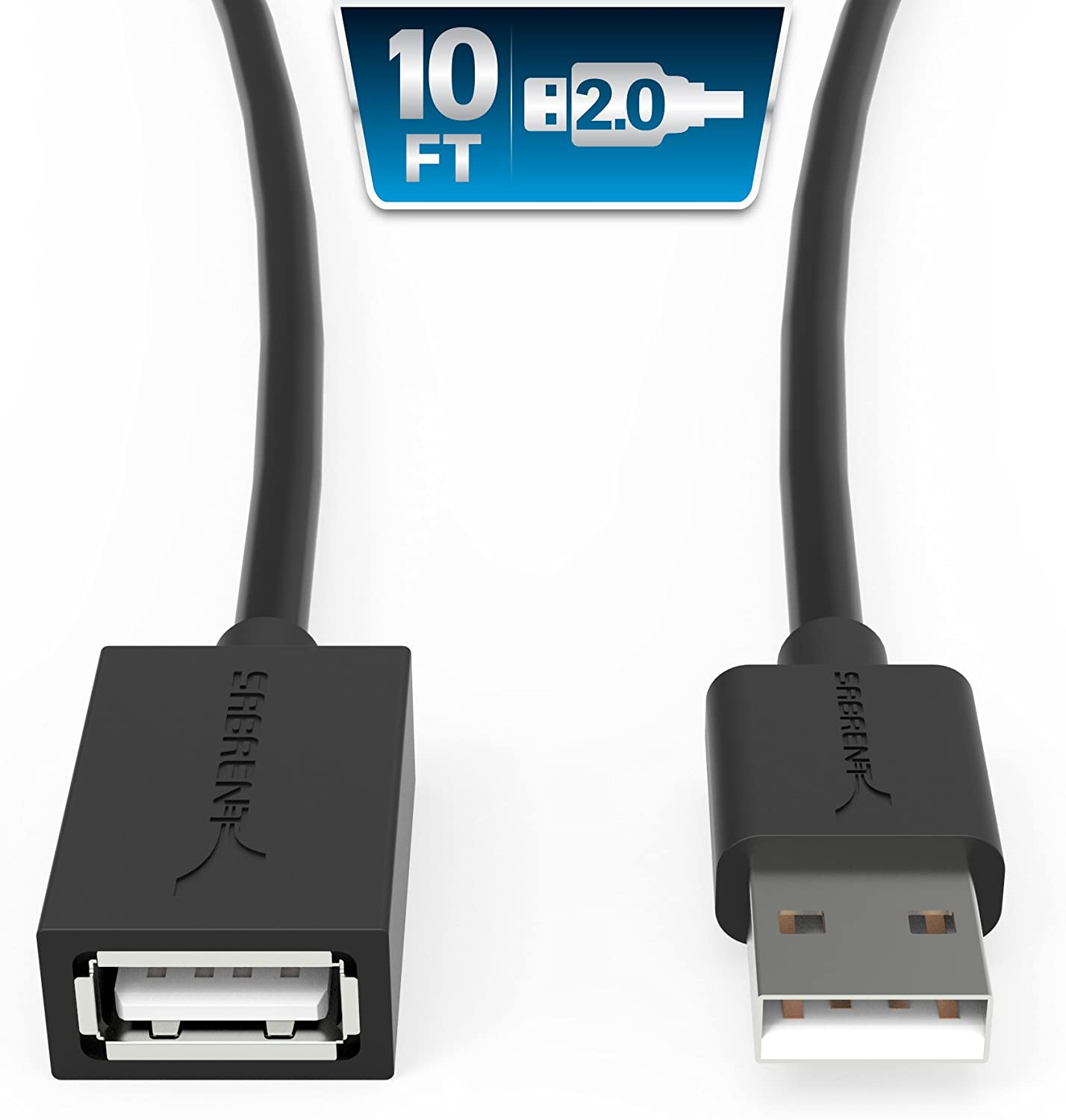 Sabrent 22AWG USB 2.0 Extension Cable - A-Male to A-Female [Black] 10 Feet (CB-2010)