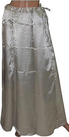 Black  Satin Indian saree Sari Petticoat Underskirt belly dancing Free size
