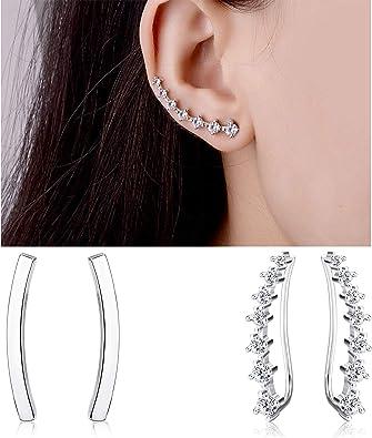 Milacolato 2 Pairs Sterling Silver Star Double Twist Hoop Earrings for Women Fashion Ear Climber Wrap Cuff Earrings Set