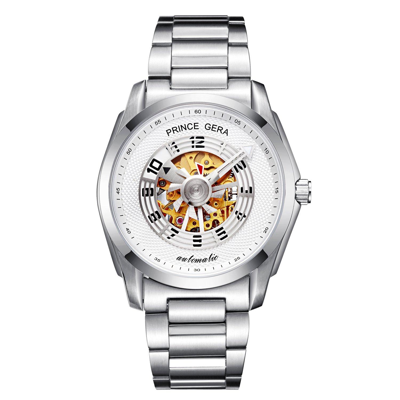 腕時計 メンズ PRINCE GERA 自動機械式時計 ユニークなプロペラ秒針 シルバーケース ホワイトダイヤル [並行輸入品] B07CNQ1ZML シルバーケース+ホワイトダイヤル シルバーケース+ホワイトダイヤル