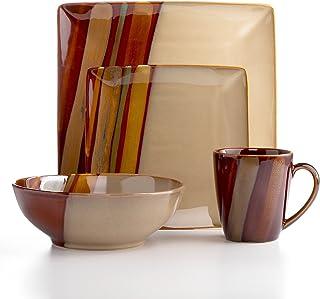 Sango Avanti 16-Piece Dinnerware Set Brown  sc 1 st  Amazon.com & Amazon.com | Sango Avanti Brown Square Dinner Plate: Dinner Plates