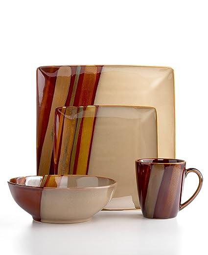 Amazon.com | Sango Avanti 16-Piece Dinnerware Set, Brown: Dish Sets ...
