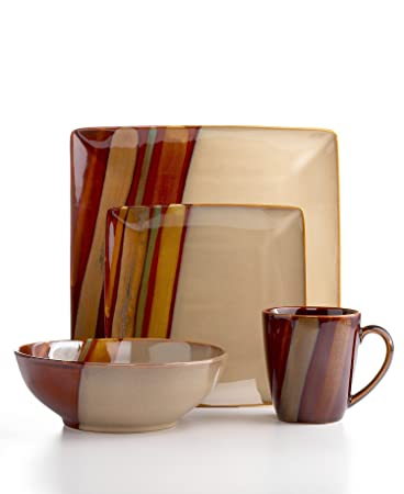 Amazon.com | Sango Avanti 16-Piece Dinnerware Set, Brown: Dish Sets ...