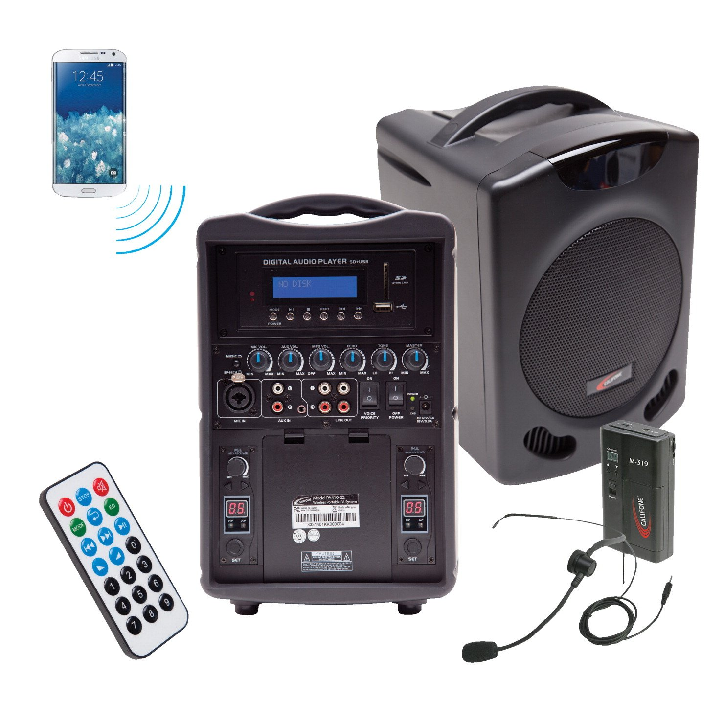 Califone PA419M PA419M Portable Bluetooth PA, Black