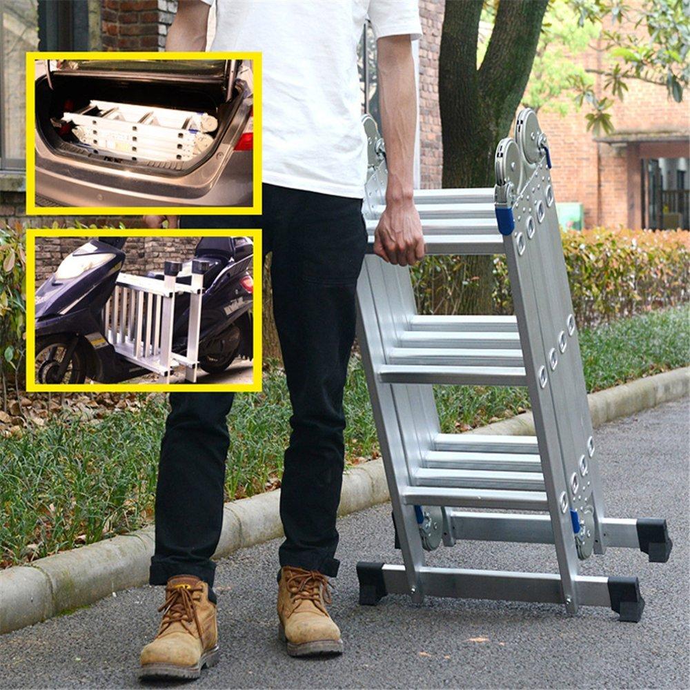 LARS360 6 en 1 /Échelle de pose 4.7M /Échelle Polyvalente /Échelle Articul/ée avec Plate-forme /Échelons 4x4 /Échelle en aluminium /Échelle multifonctions de Haute Qualit/é Chargeable Jusqu/à 150 kg
