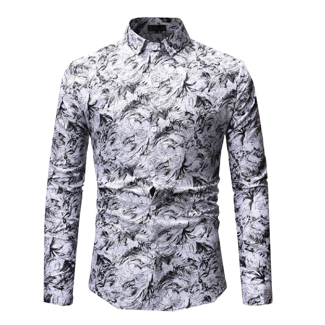 Zimaes-Men Printed Turn-Down Collar Long-Sleeve Causal Button Down Shirt